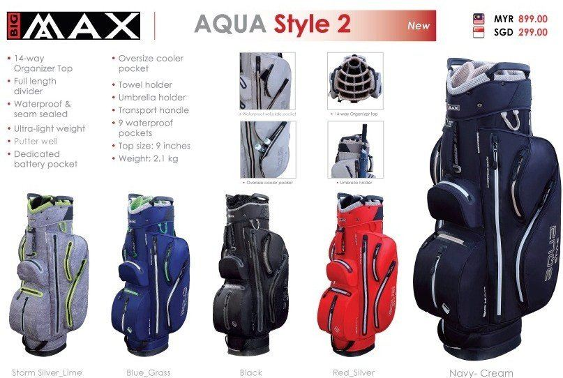 NEW ARRIVAL THE BIGMAX AQUA STYLE 2 CART GOLF BAGS AT VKGOLF ONLINE STORE ONLY!