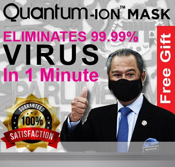 Quantum-ION Face Mask - KILLS 99.99% OF COVID-19 IN 1 MINUTE
