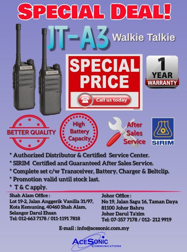 JT-A3 PROMOTION SPECIAL DEAL