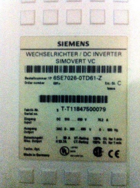 SIEMENS SIMOVERT VC DC INVERTER 6SE7026-0TD61-Z 6SE7026-OTD61-Z REPAIR MALAYSIA INDONESIA
