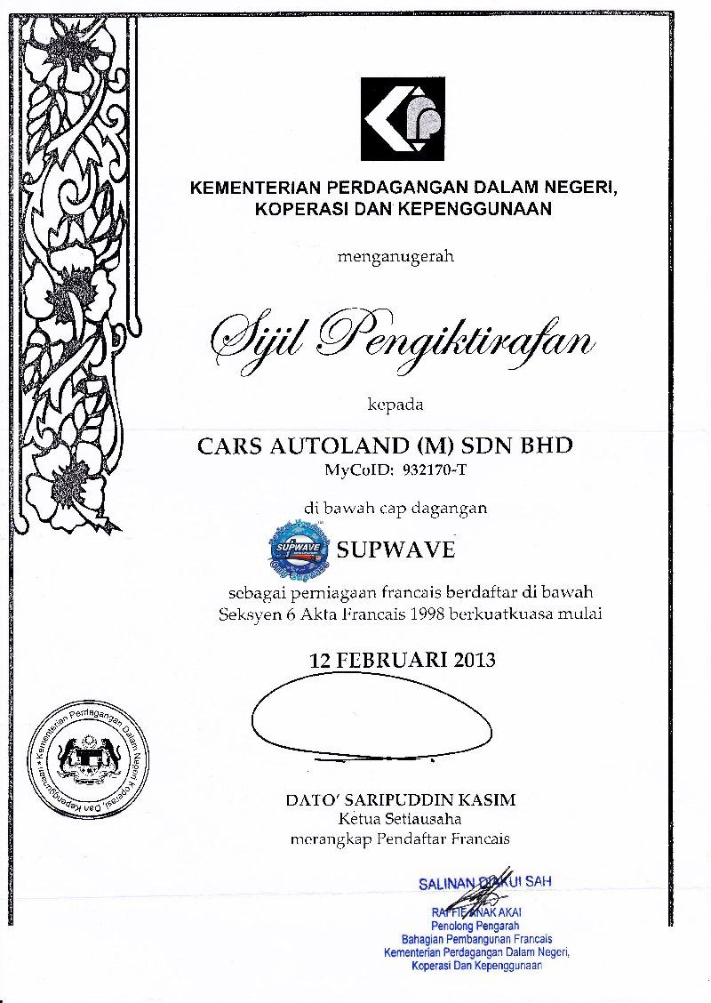 First In Malaysia Car Detailing Franchise - Certificate from government