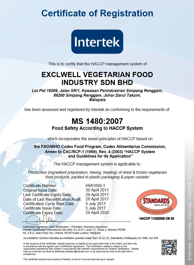 Haccp food safety system certified exclwell vegetarian - Procedure haccp cuisine ...