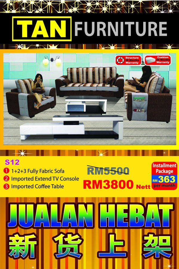 modern fabric sofa + tv console + coffee table Rm 3800 only!!