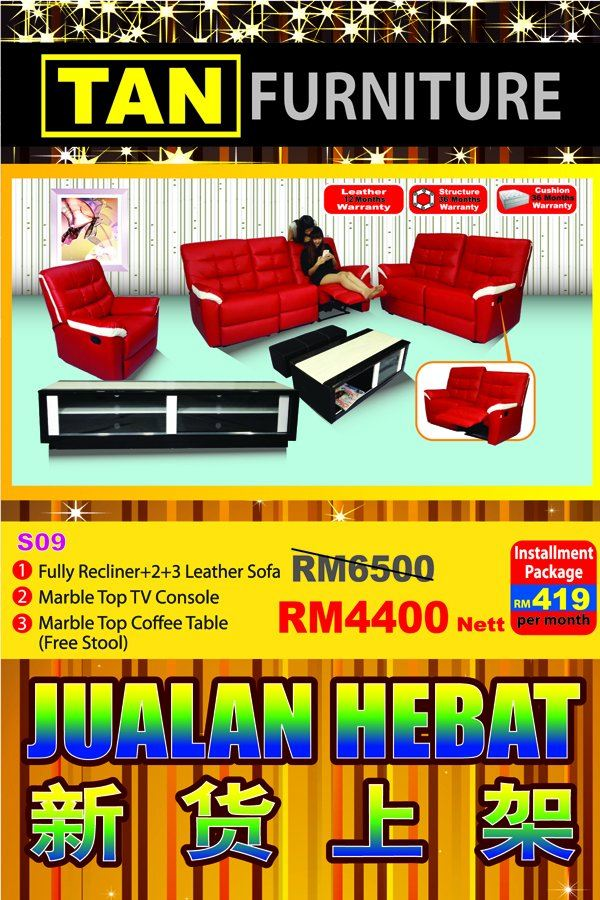 Fully recliner sofa + tv console + coffee table Rm 4400 only!!!