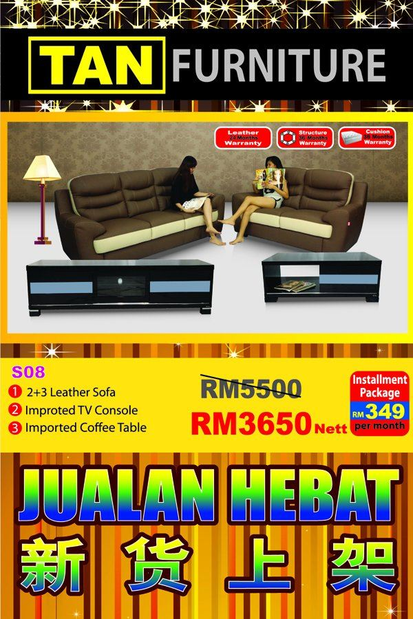 classic  sofa + Tv console + coffee Table RM 3650 now!!