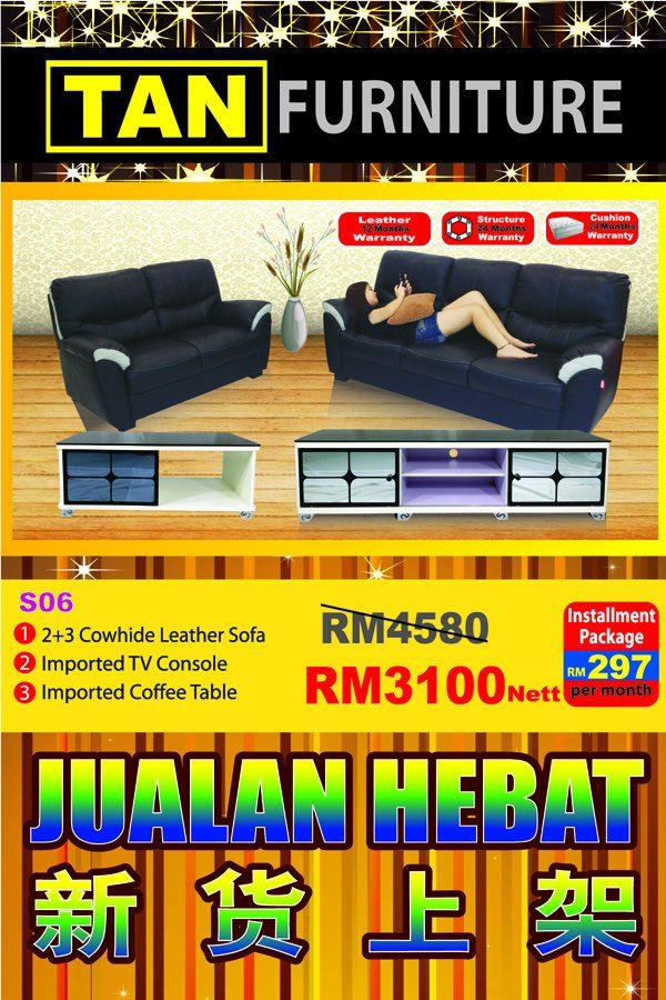 cowhide leather sofa+tv console+coffee table offer Rm 3100 !!
