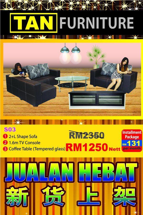 crazy sale !! Rm 1250 sofa + tv console + coffee table
