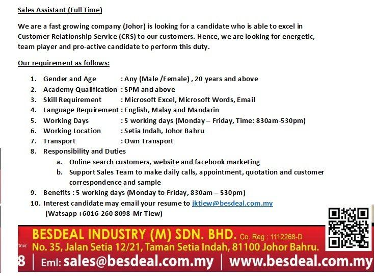 Recruitment for Sales Executive and Sales Support