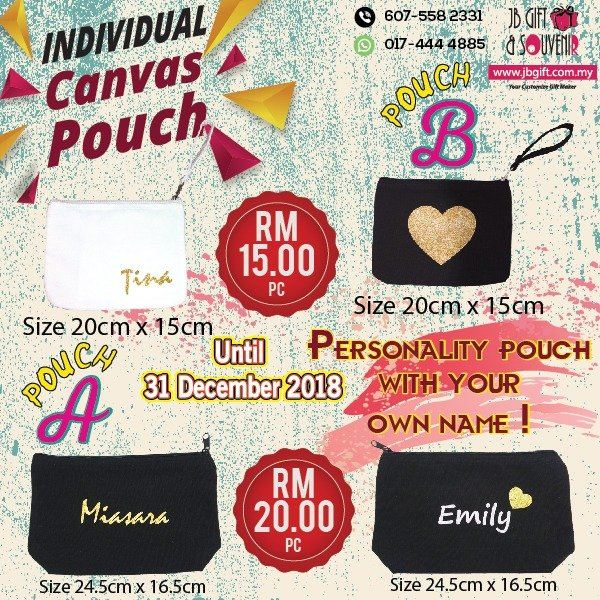 2018 Christmas Promo - Canvas Pouch With Own Name