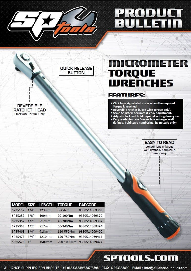SP TOOLS (AUSTRALIA) MICROMETER TORQUE WRENCH (IMPROVED MODEL!)