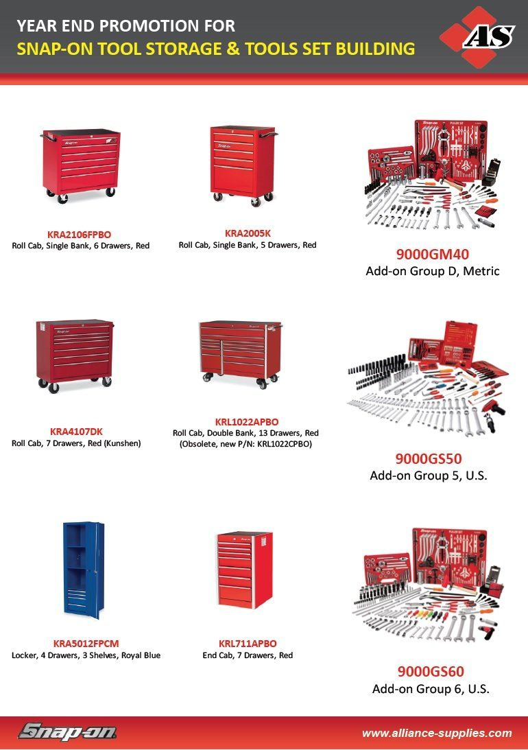 Year End Promo: SNAP-ON Roller Cabinets & SNAP-ON SET BUILDING