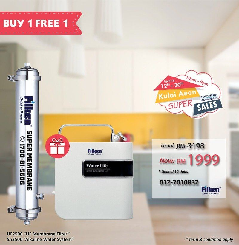 FILKEN WATER FILTRATION SUPER SALES: 12TH - 30TH APRIL 2018
