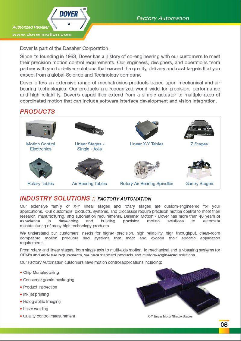 FEG is Authorized Reseller DOVER Motion Control Spindles Malaysia Johor Penang Melaka Selangor