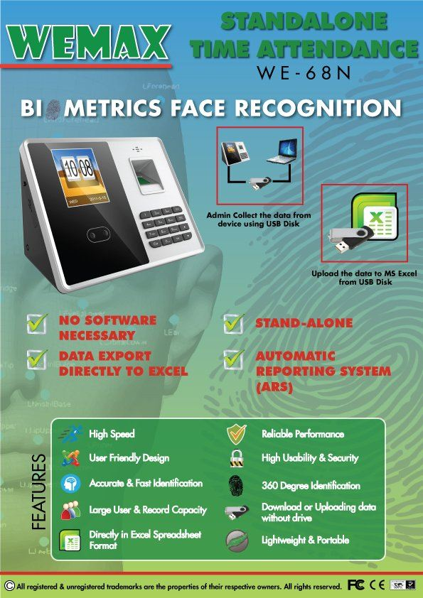 STANDALONE FACE RECOGNITION FINGERPRINT TIME ATTENDANCE WE-68N