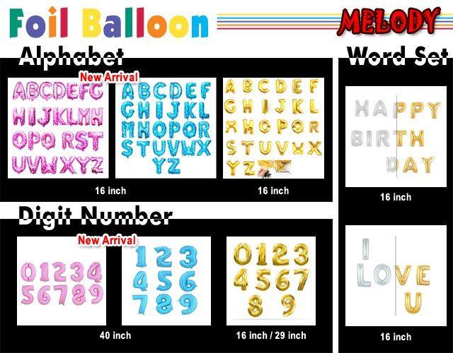 Alphabet & Number Foil Balloons