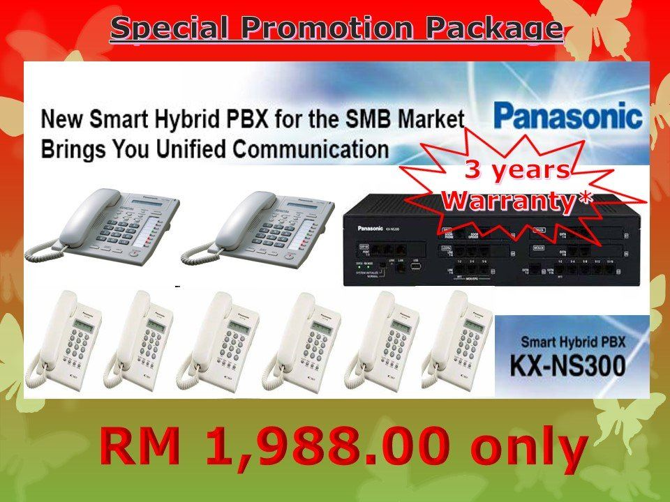 Promotion Package for Panasonic IP-PBX Keyphone System KX-NS300 - 3 YEARS WARRANTY.