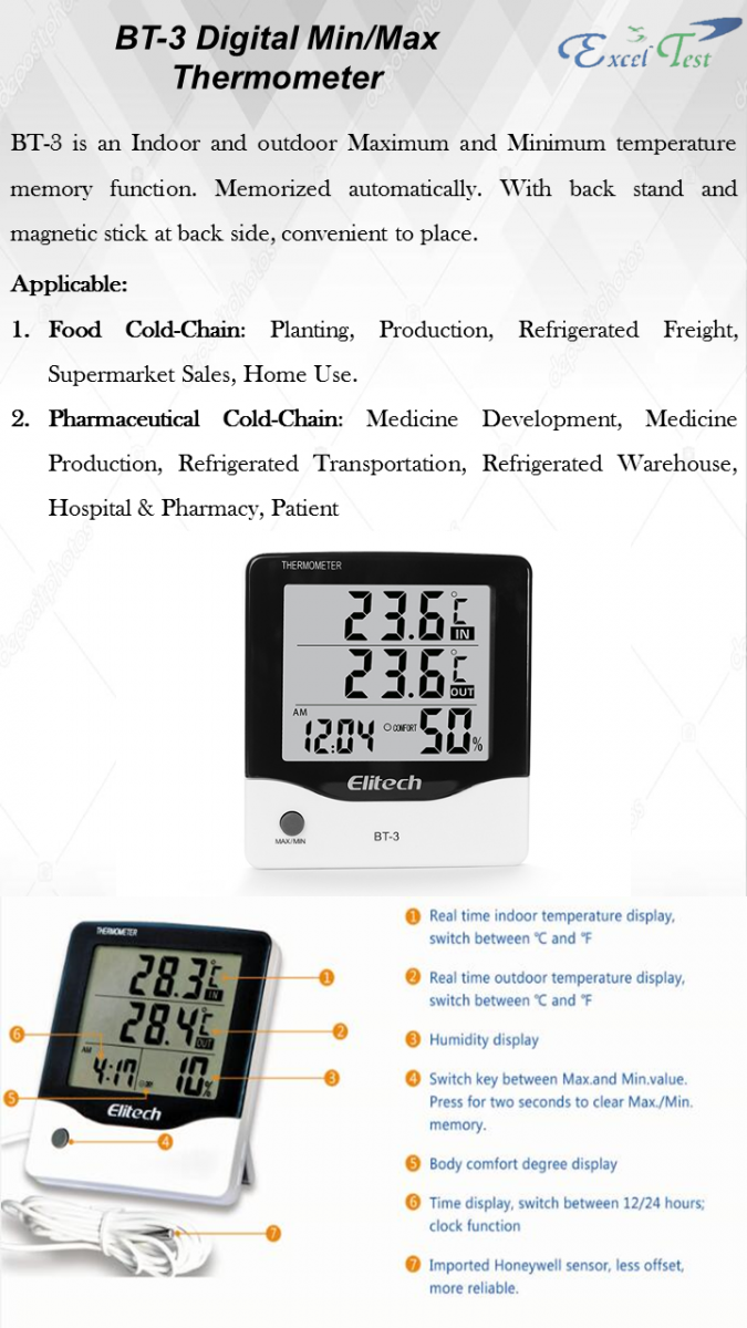 BT-3 Digital Min/Max Thermometer