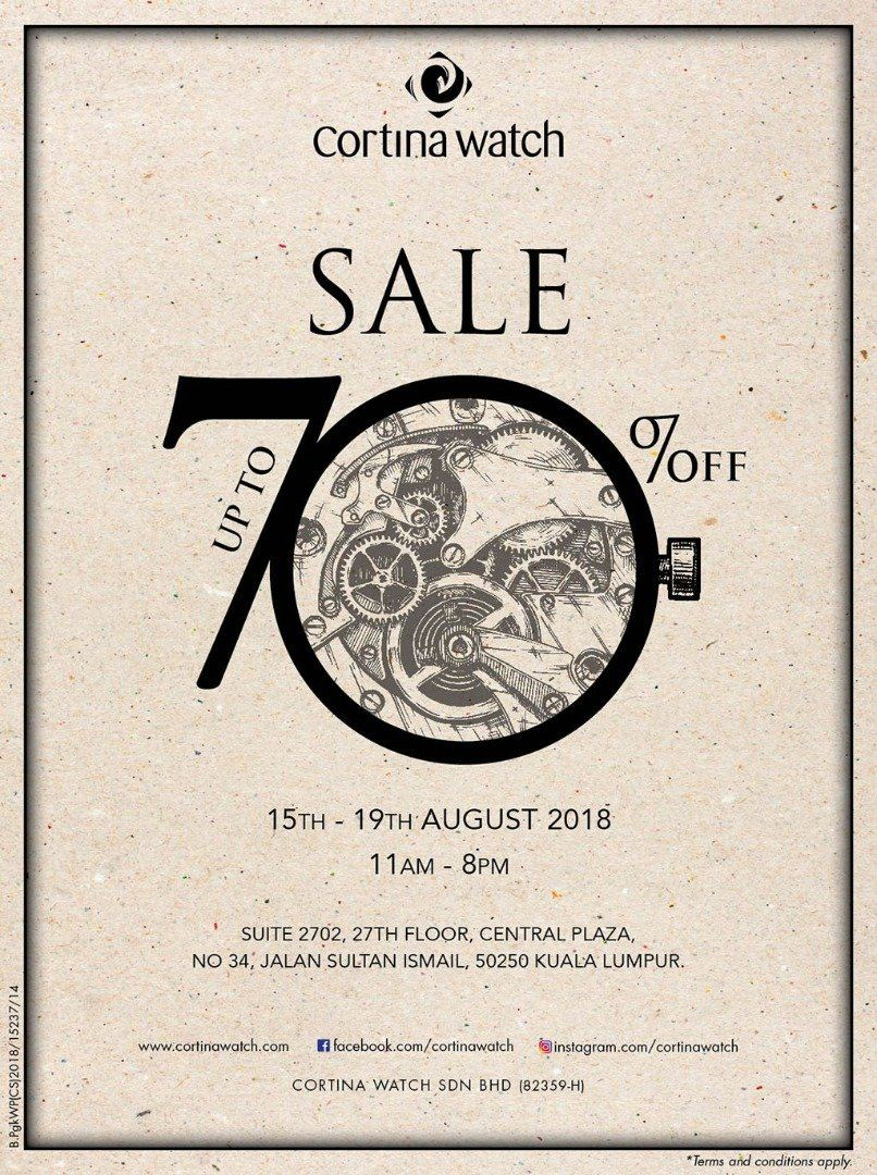 Cortina Watch Sale Up to 70% Off from 15th-19th August 2018