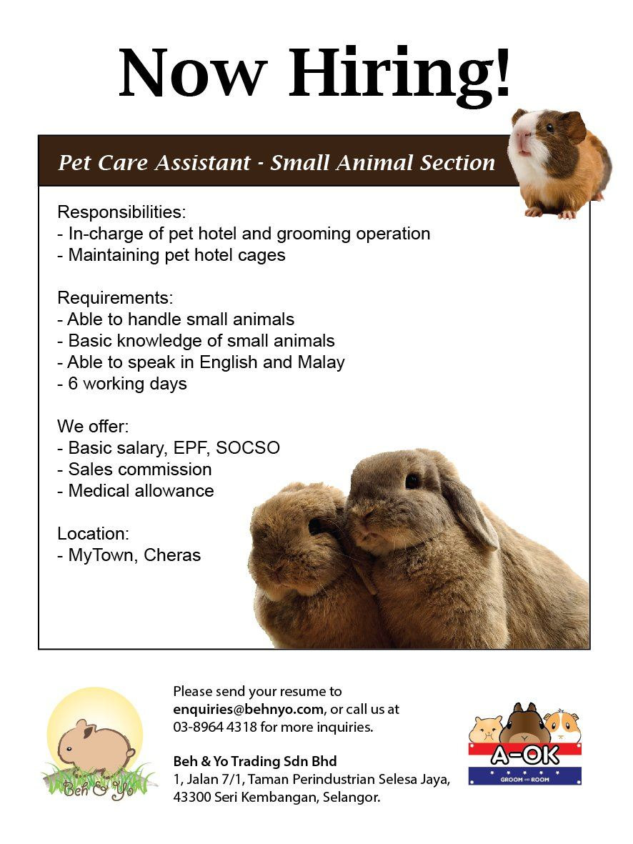 Vacancy - Small Animal Pet Care Assistant