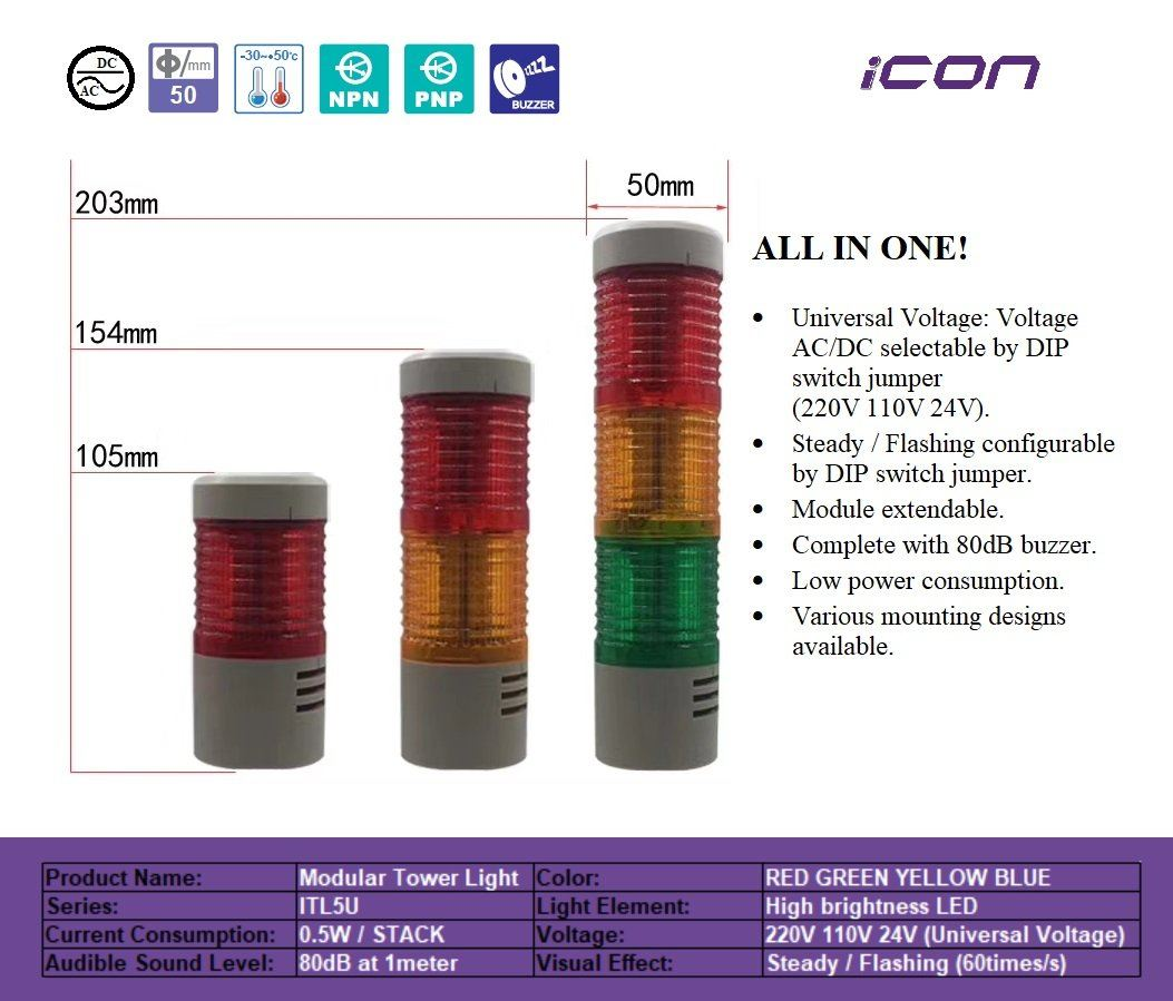 UNIVERSAL VOLTAGE MODULAR TOWER LIGHT - ICON ITL5U - PRIMA CONTROL TECHNOLOGY PLT