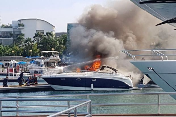 Yacht catches fire at Sentosa Cove
