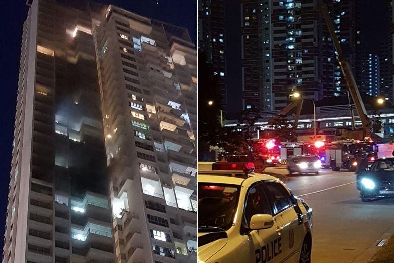Fire breaks out at condominium near Redhill