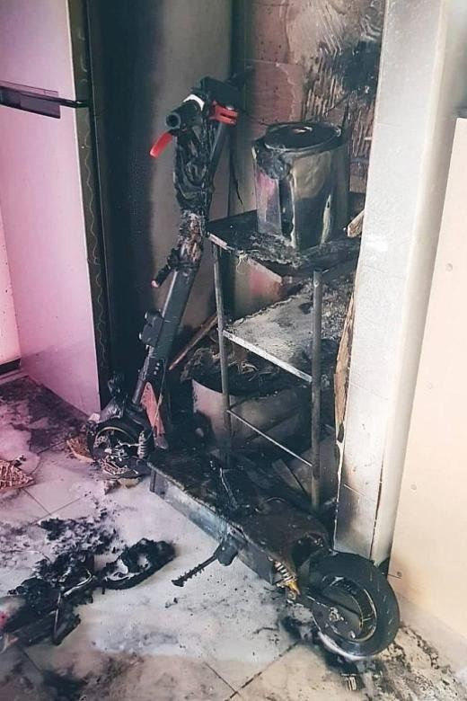 Charging PMD in Punggol HDB flat caught fire