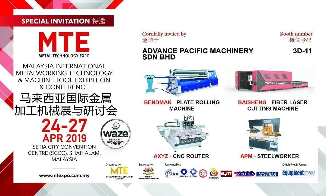 MTE Metal Technology Expo 24-27 APR 2019 Booth 3D-11