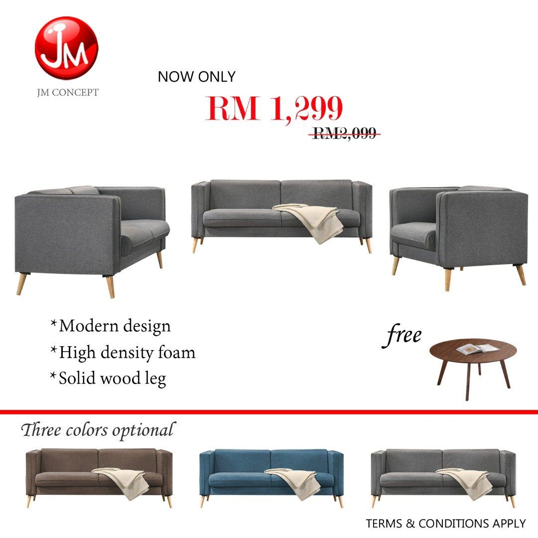 JM CONCEPT PASSION FABRIC SOFA SET 1+2+3 SEATER (SOLID WOOD LEG) WITH FREE COFFEE TABLE