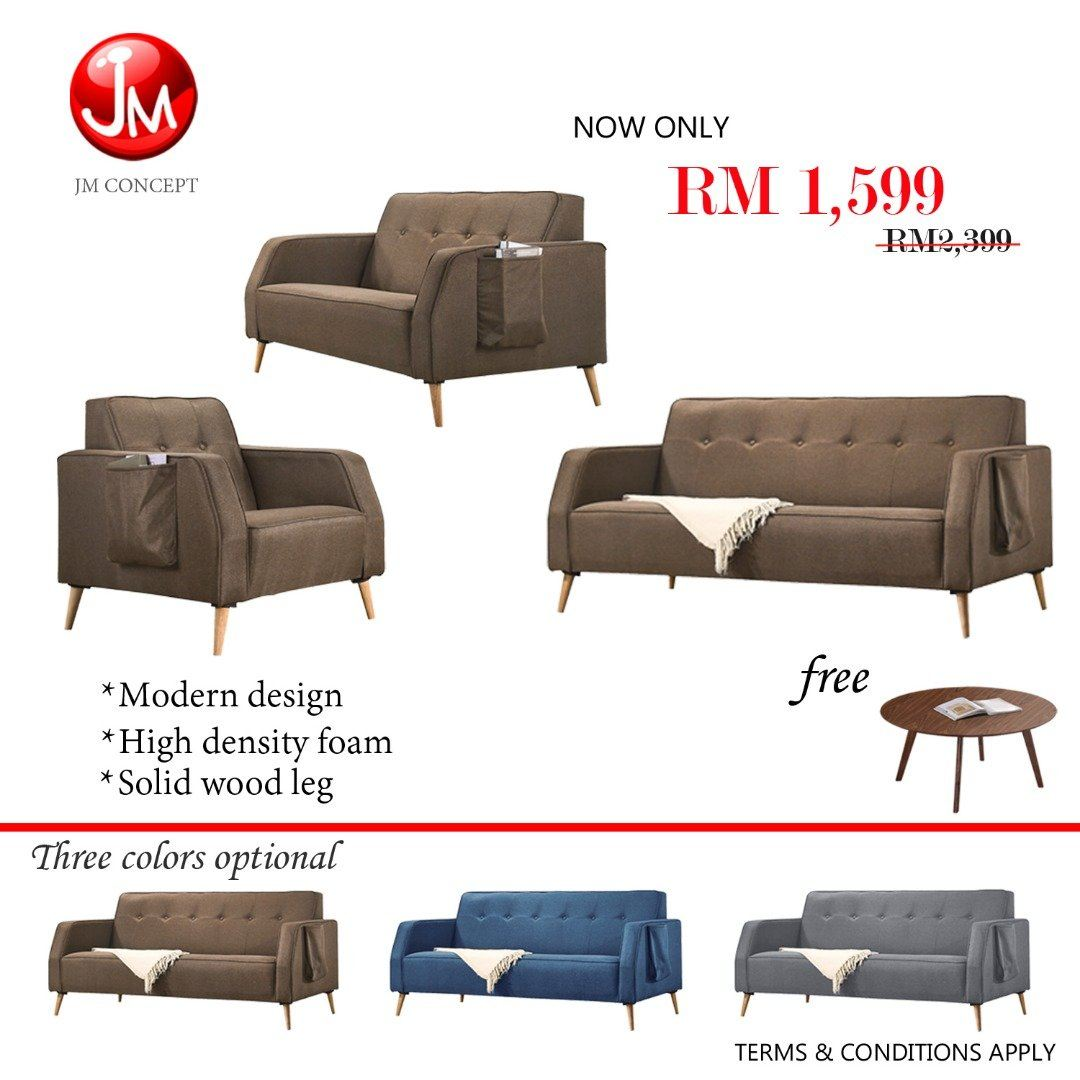 JM CONCEPT PATCHY SOFA SEY 1+2+3 SEATER (SOLID WOOD LEG & POCKET DESIGN)