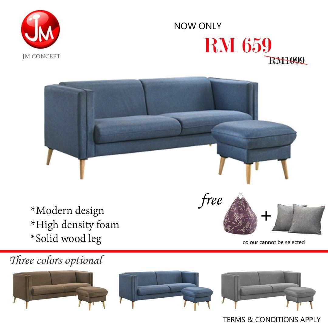 JM CONCEPT PASSION FABRIC L SHAPE SOFA (SOLID WOOD LEG) WITH FREE BEAN BAG & SOFA PILLOW