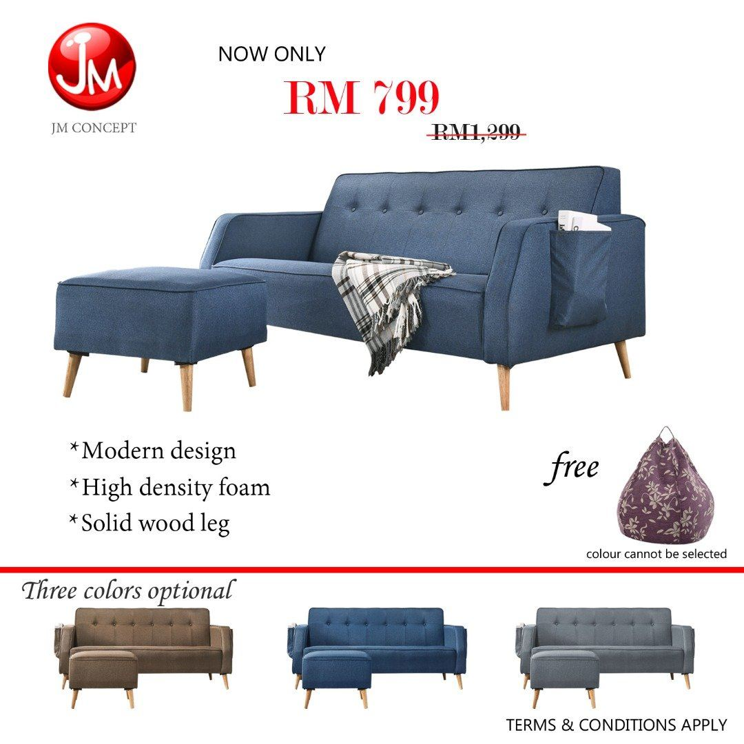 JM CONCEPT PATCHY L SHAPE SOFA (SOLID WOOD LEG & POCKET DESIGN) FREE BEAN BAG