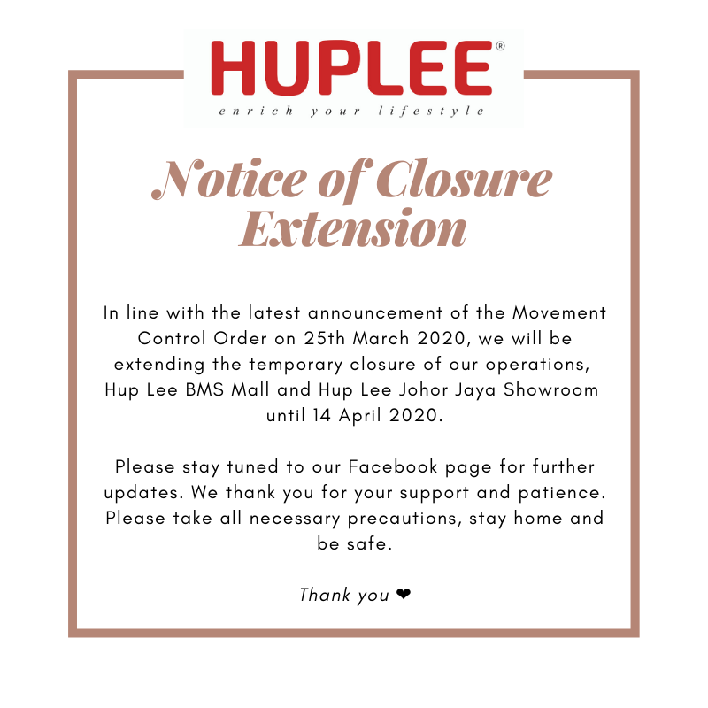 Notice of Temporary Closure Extension during MCO