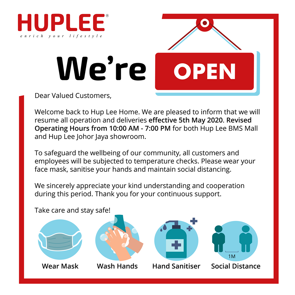 Good news! We're Open effective from 5th May 2020 onwards.