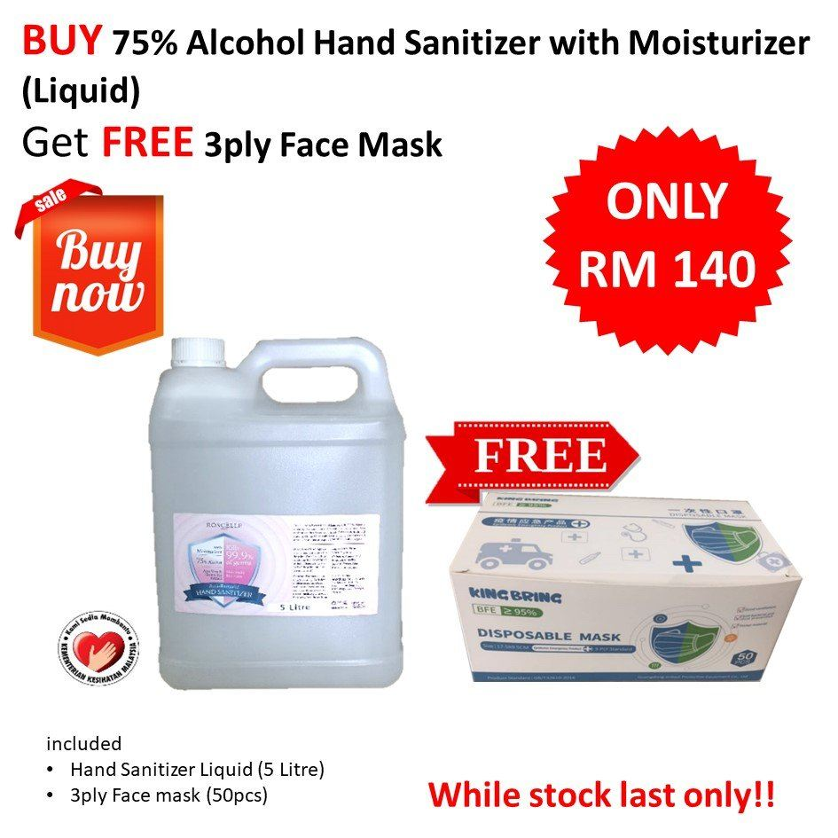 Liquid Hand Sanitizer & 3ply Face Mask