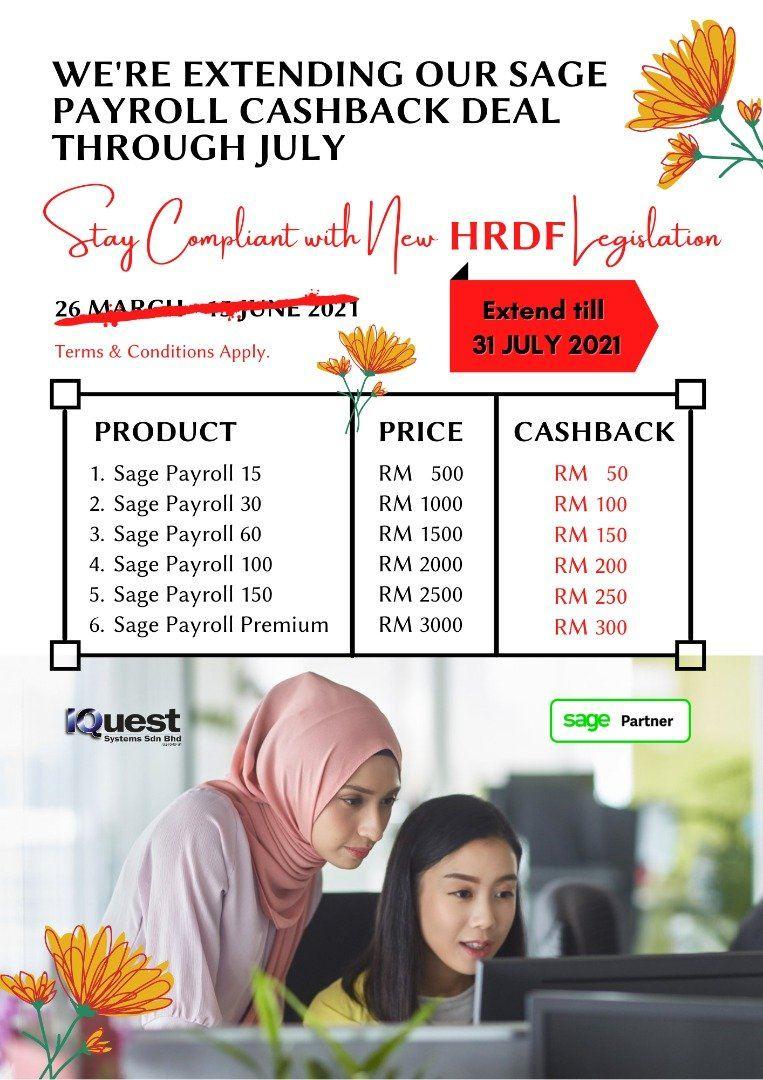 Sage Payroll 10% Cashback Promotion