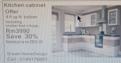 offer price 8ft rm3990 including cooker hop 1 set