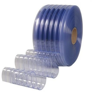 PVC CLEAR BLUE RIBBED CURTAIN 2MM X 200MM X 50MTR
