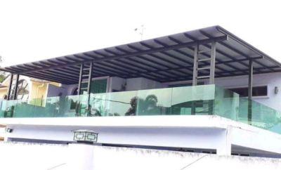 Stainless Steel + Aluminium Main Gate To installation Tempered Glass Railing cum Stainless Steel Handrail