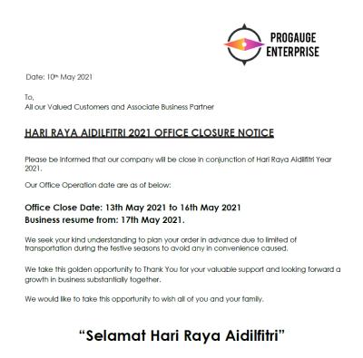 Hari Raya 2021 Office Closure Notice