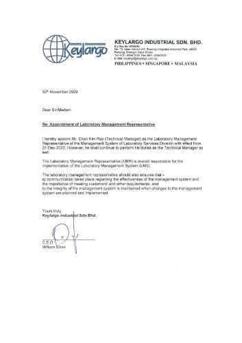 Appointment of Laboratory Management Representative