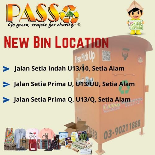 "Hi Dearest Donor, we would like to announce, our ""NEW LOCATION BIN in SETIA ALAM"","