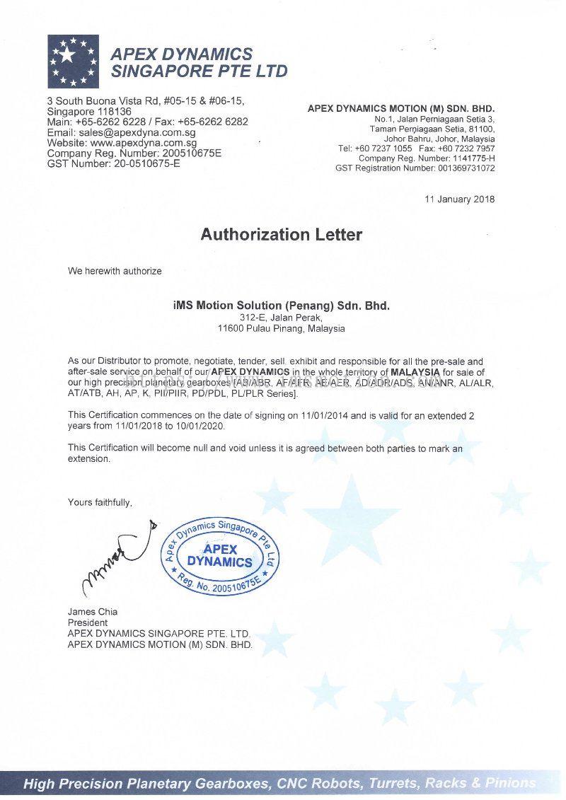 Penang authorization distributor certificate from ims motion apex authorize distributor certificate altavistaventures Choice Image