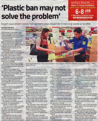 ' Plastic ban may not solve the problem' (Starmetro, Wednesday 4 January 2017)