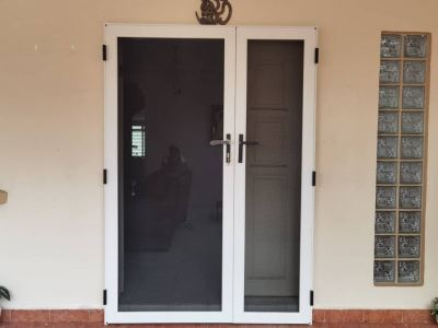 Security Stainless Steel Mosquito Mesh Swing Door (view from outside)