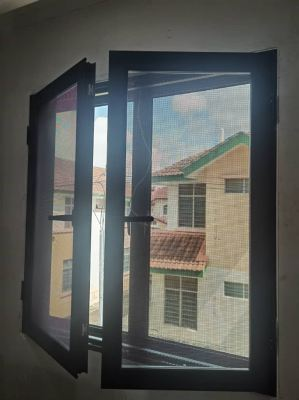 Security Stainless Steel Mosquito Mesh Casement Window (view from inside)