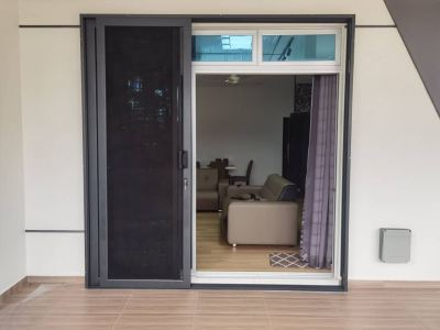 Security Stainless Steel Mosquito Mesh Sliding Door (view from outside)