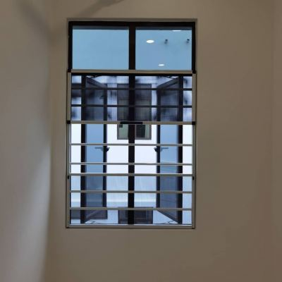 3 Section Aluminium Grille with Stainless Steel Mosquito Wire Mesh Window (view from inside)