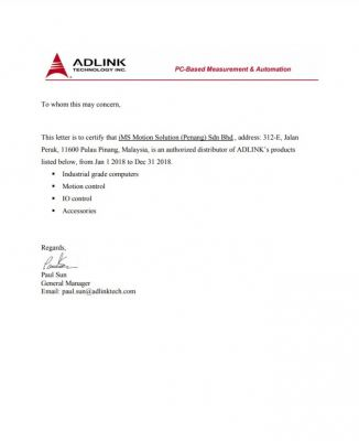 Adlink Authorize Distributor Certificate