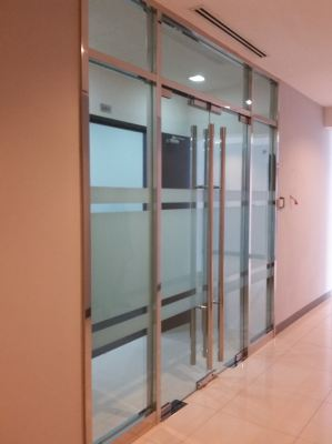 Stainless steel frame tempered glass front entrance